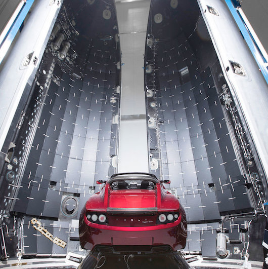SpaceX Falcon lands in the pre-set zone FalconHeavy-Roadster2