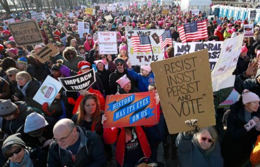 2nd Women's March draws hundreds of thousands